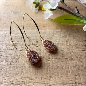 Rose Gold glitter stone drop earrings